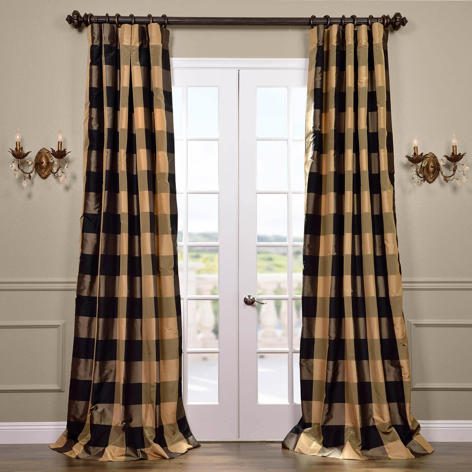 Eastwood Silk Taffeta Plaid Curtain