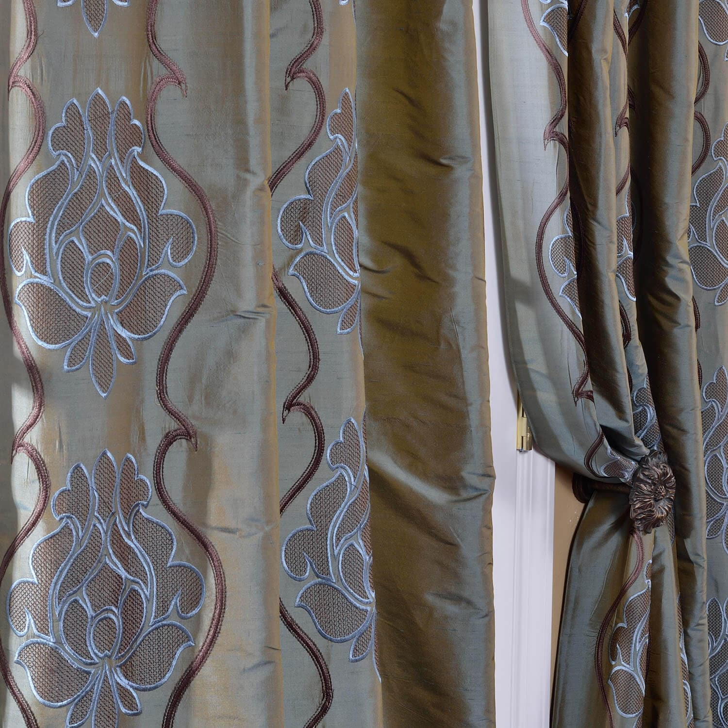 Toulon Sea Blue Silk Curtain