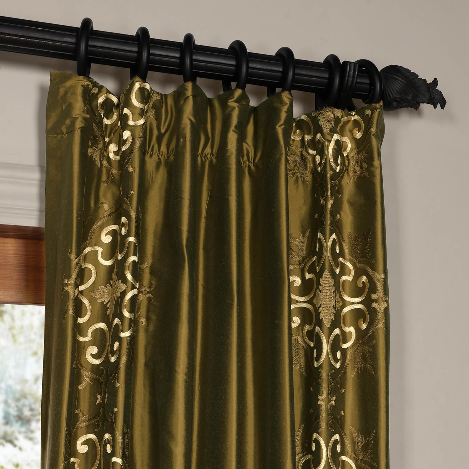 Cassandra Sage Green Thai Silk Curtain