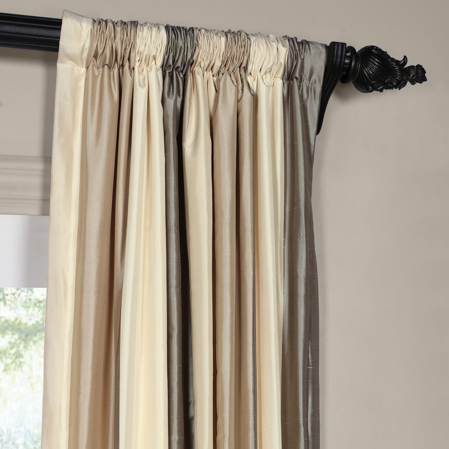 Buff Cream and Samoan Sand Silk Stripe Curtain