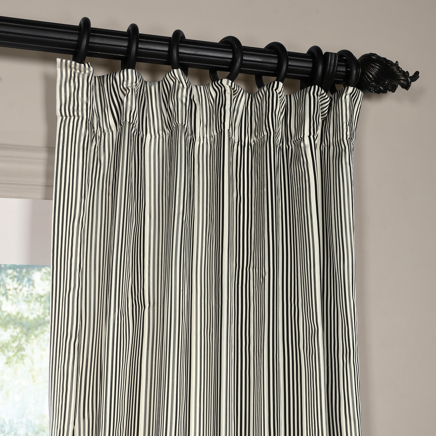 Replay Metal Grey and Black Silk Stripe Curtain
