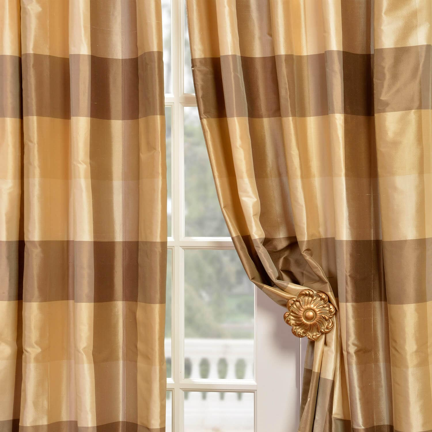Sheffield Silk Plaid Curtains Hpd