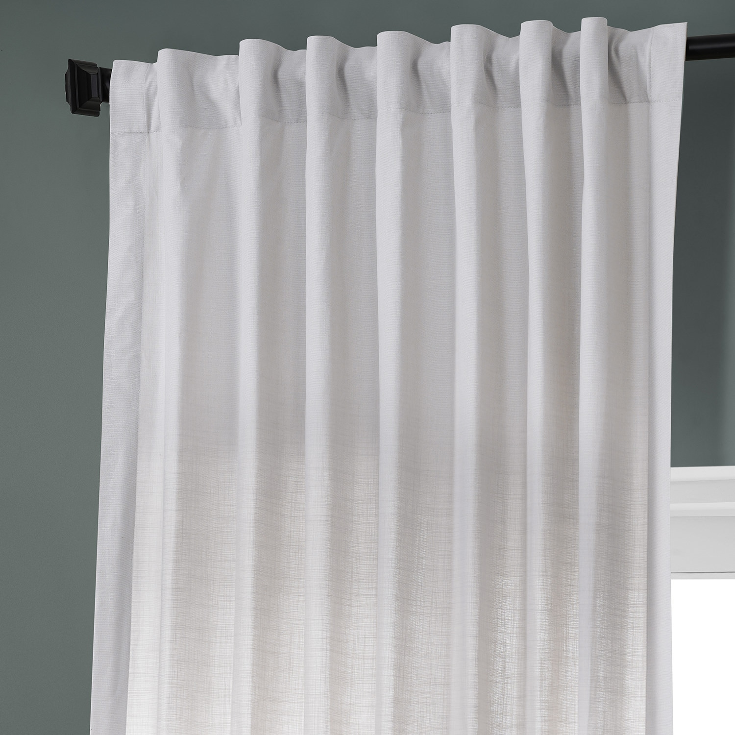 Prime White Dune Textured Solid Cotton Curtain Pair (2 Panels)