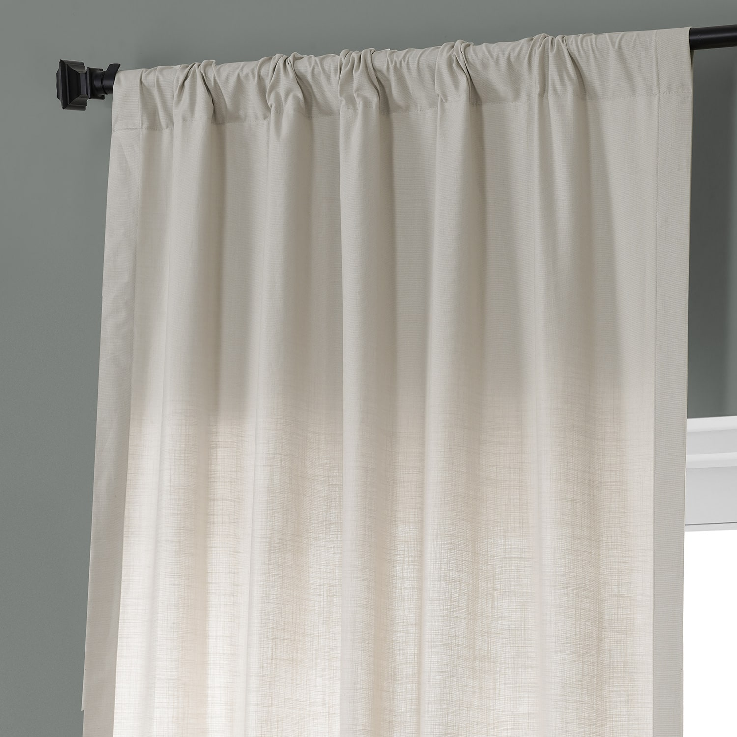 Fable Beige Dune Textured Solid Cotton Curtain Pair (2 Panels)