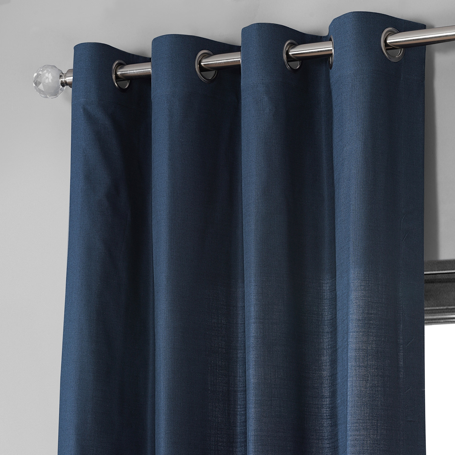 Noble Navy Dune Textured Solid Cotton Grommet Curtain Pair (2 Panels)