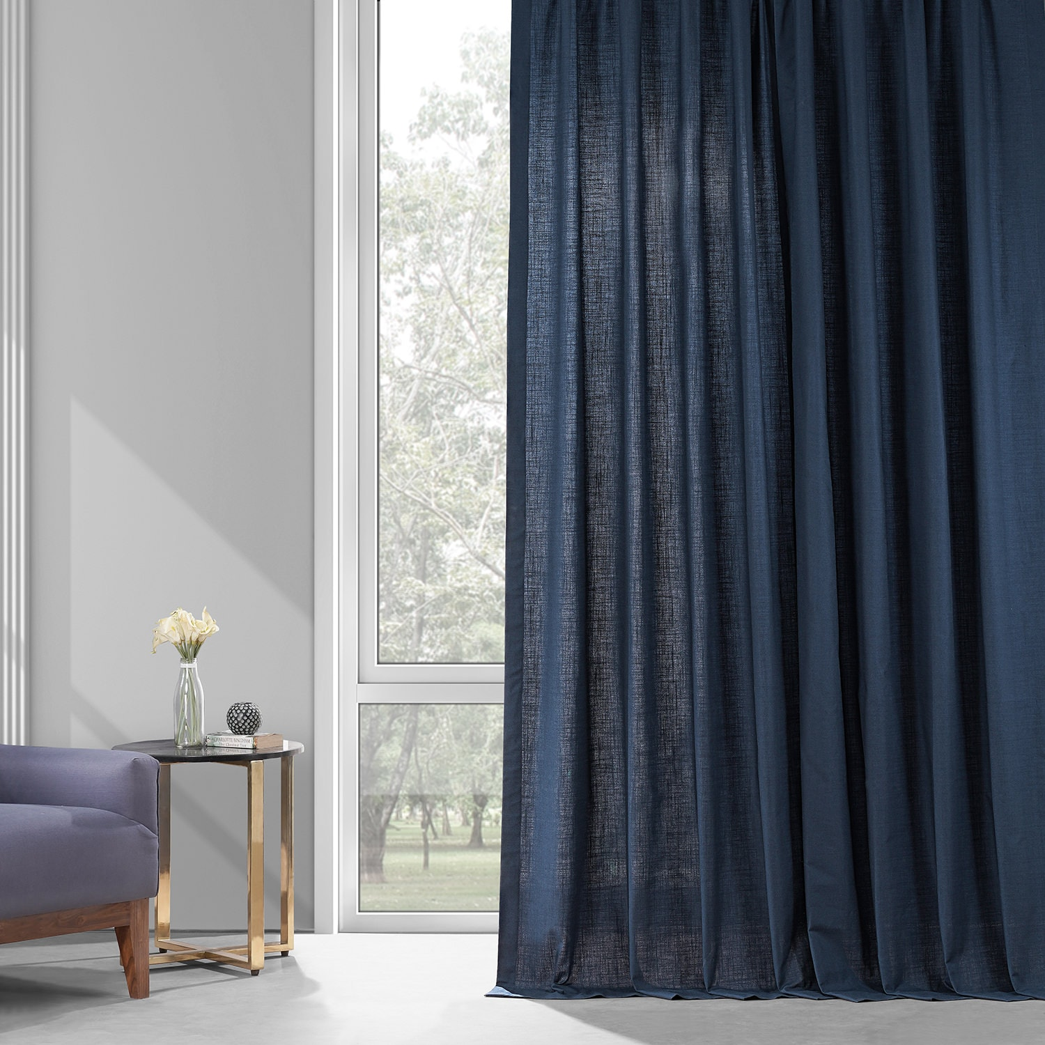 Noble Navy Dune Textured Solid Cotton Curtain Pair (2 Panels)