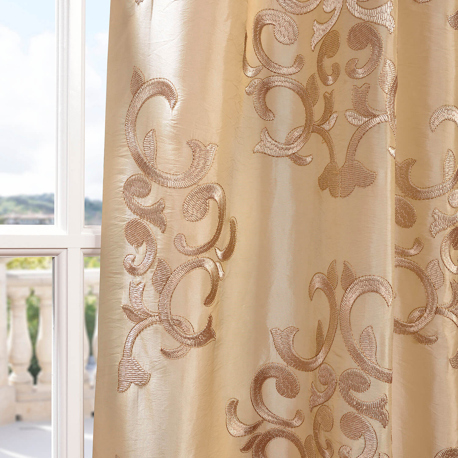 Buy Ankara Champagne Embroidered Faux Silk Curtain