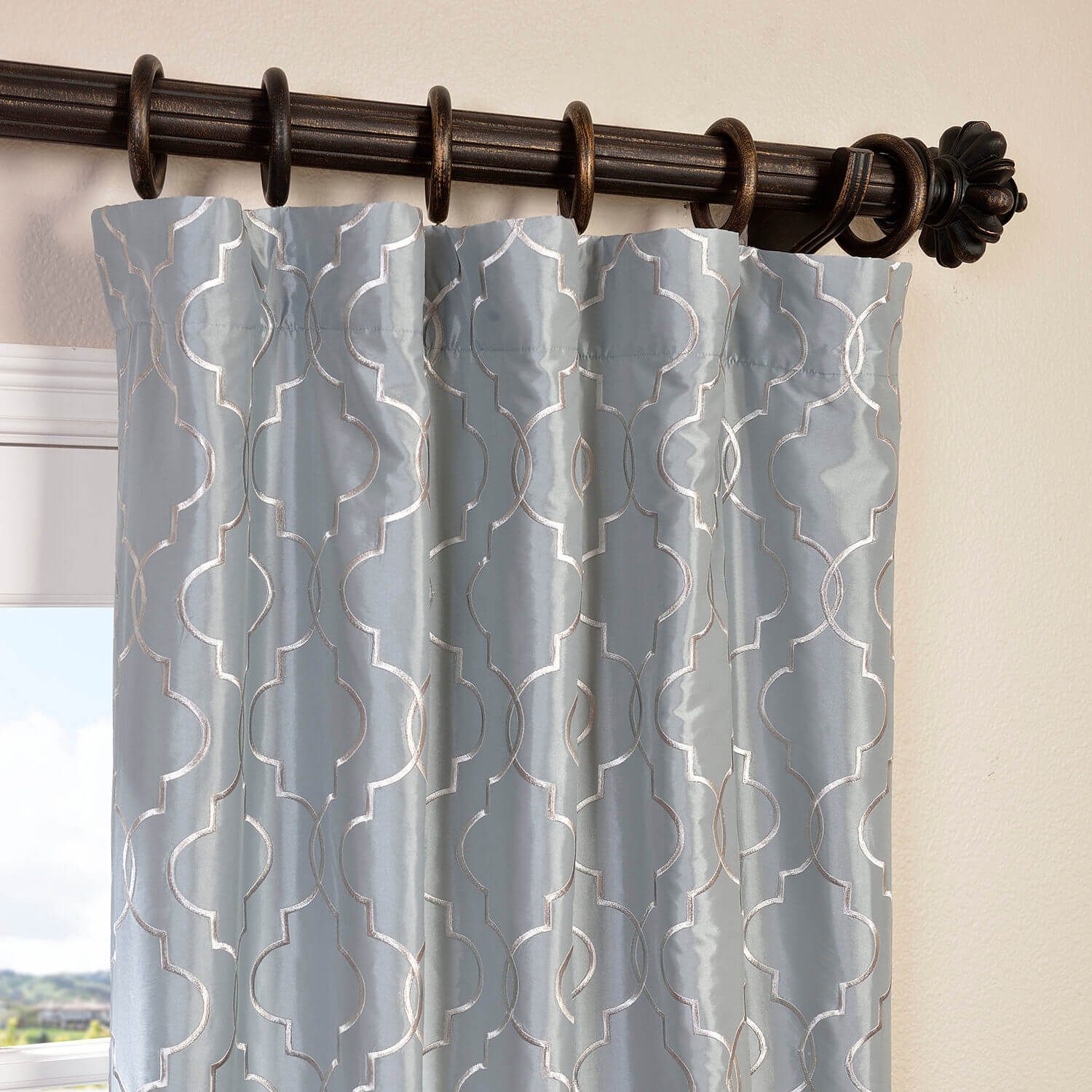 Algeirs Silver Grey Designer Embroidered Curtain
