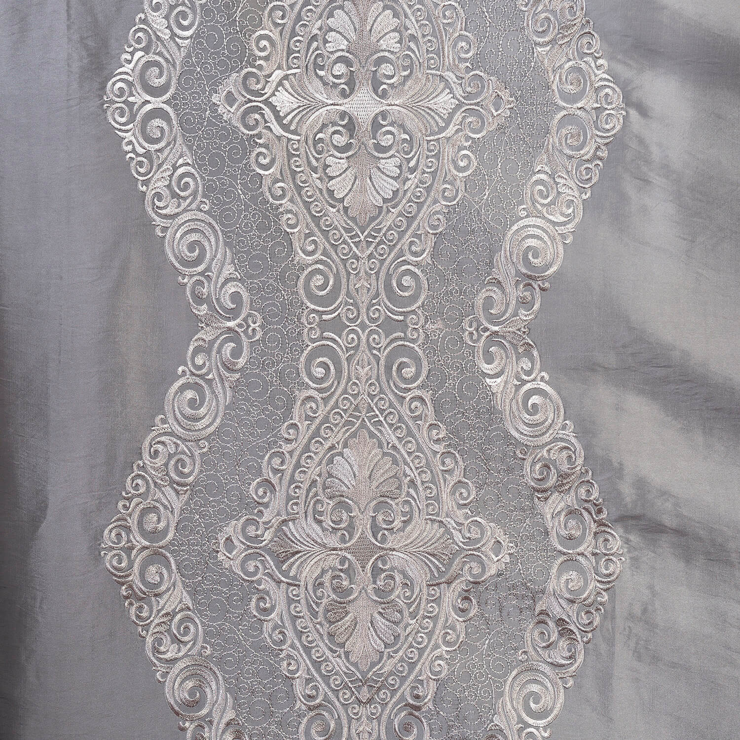 Chai Silver Grey Designer Embroidered Swatch