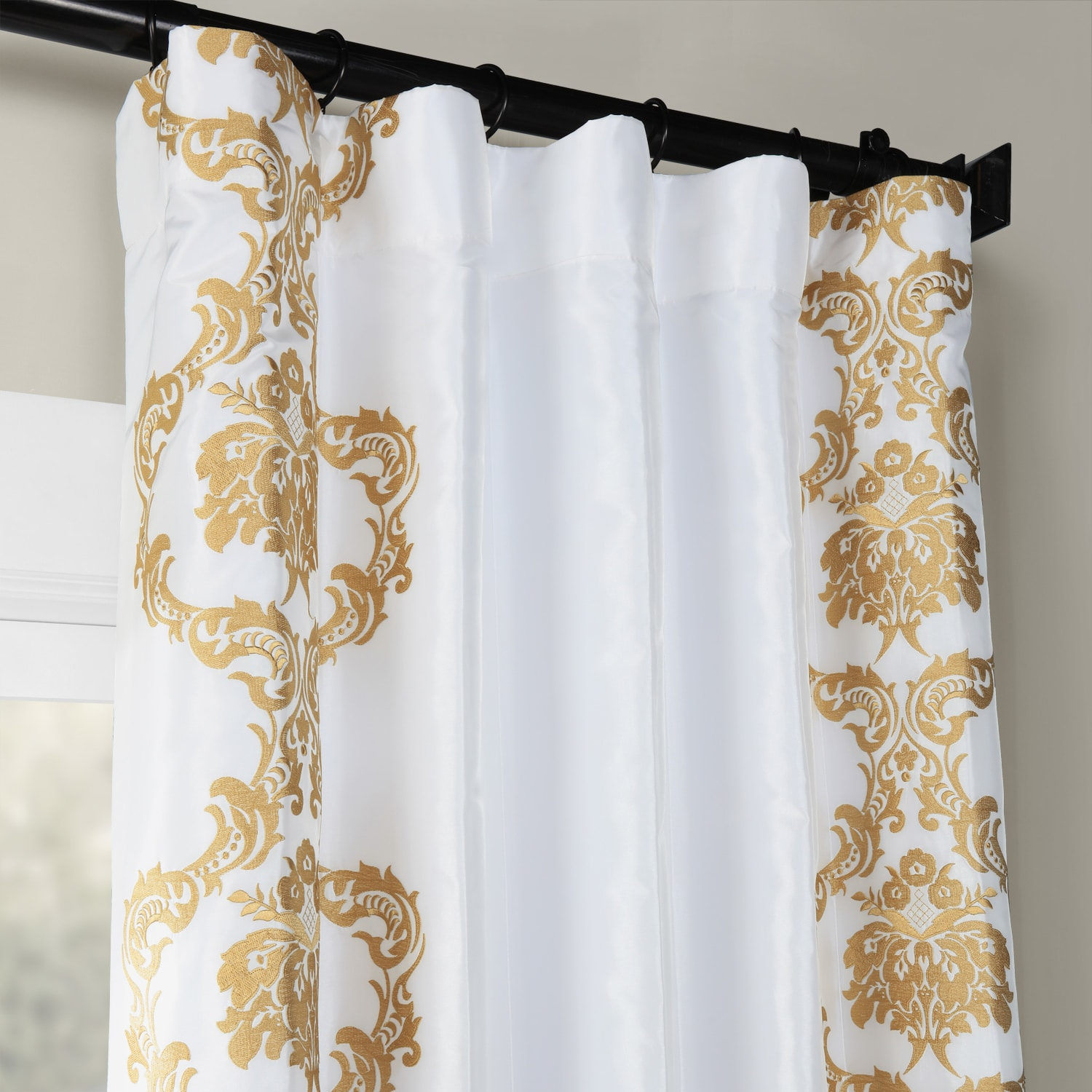 Anastasia White & Gold Designer Embroidered Curtain