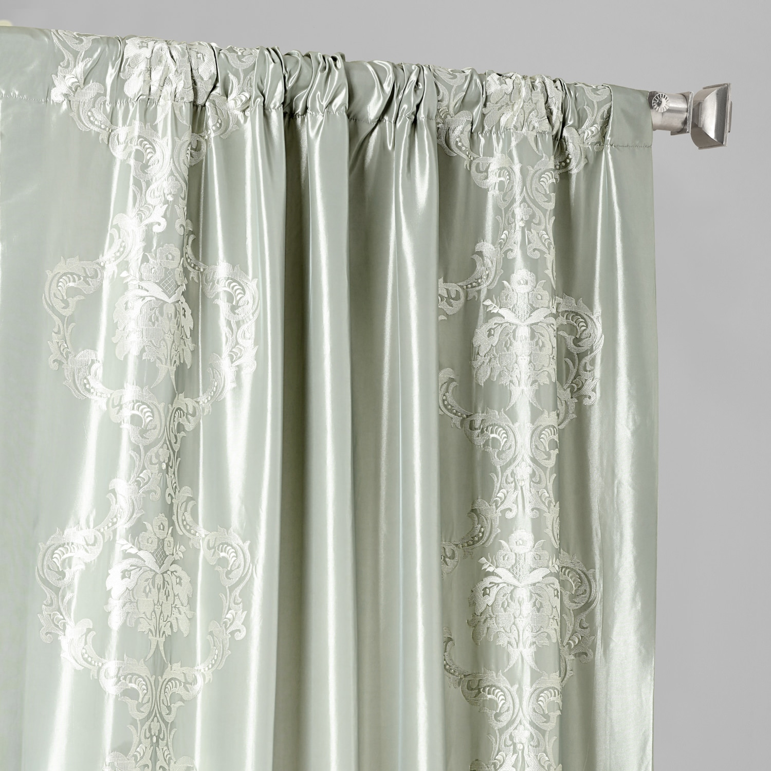 Anastasia Sterling Grey Designer Embroidered Curtain