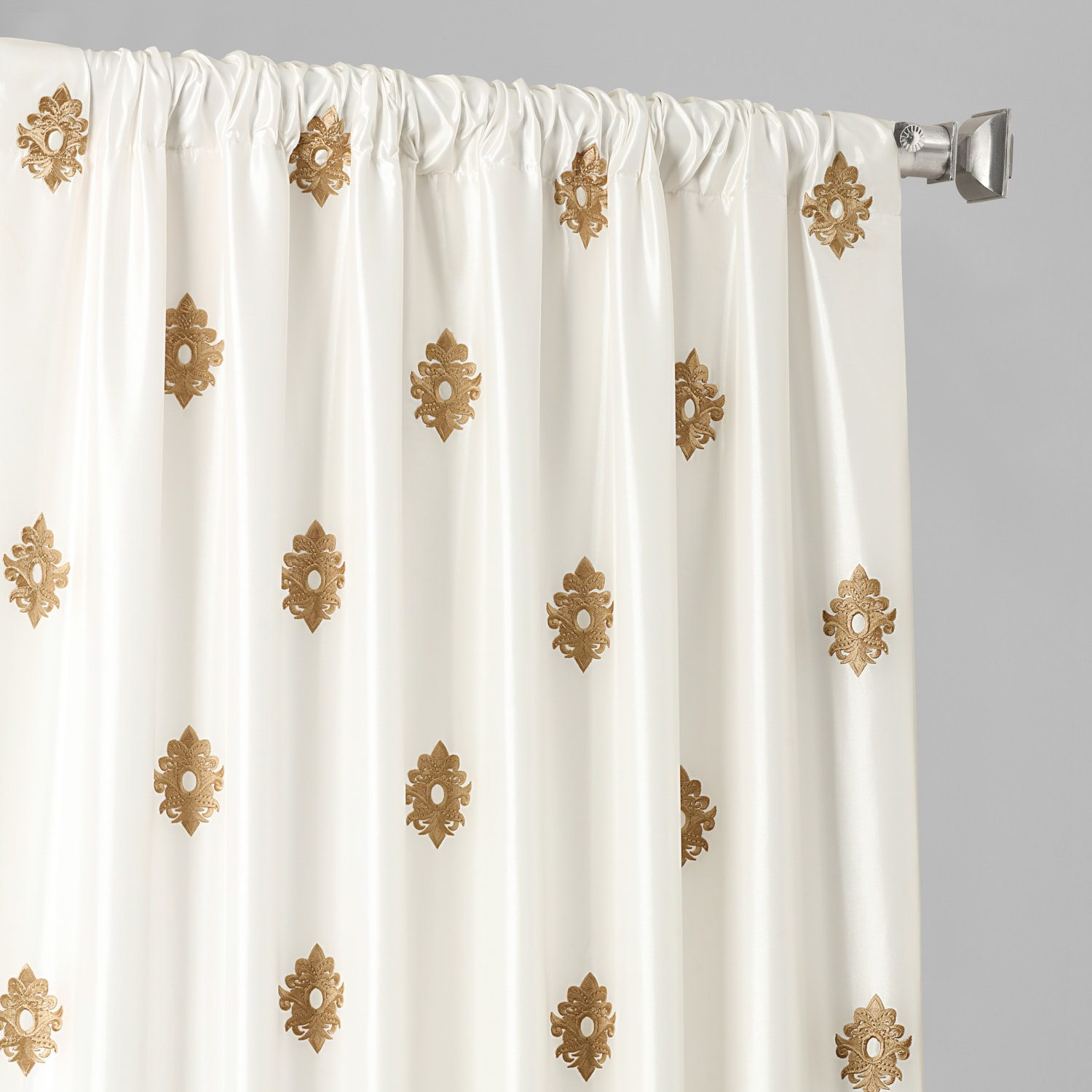 Trophy Gold & White Designer Embroidered Curtain