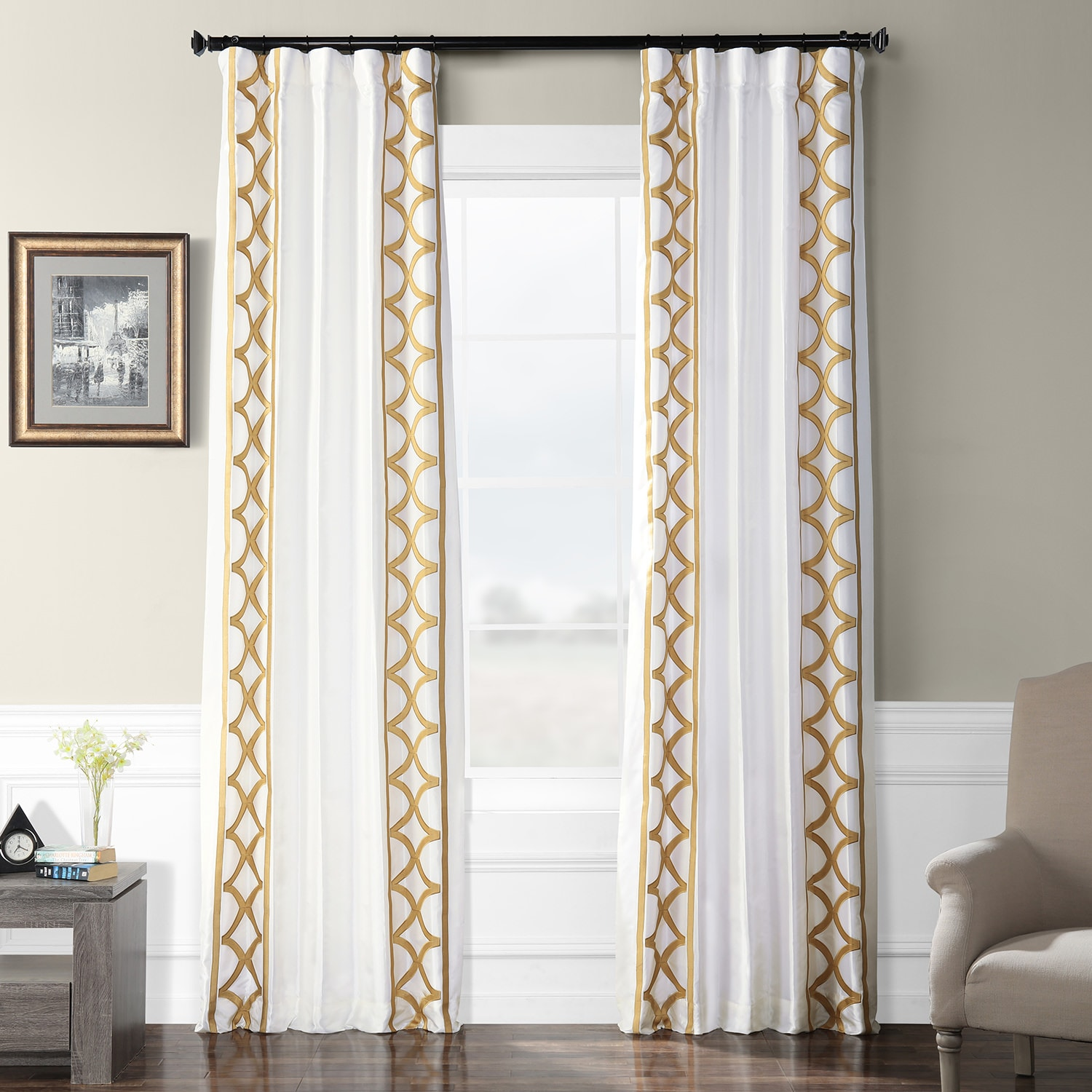 Espalier Off White Designer Embroidered Curtain
