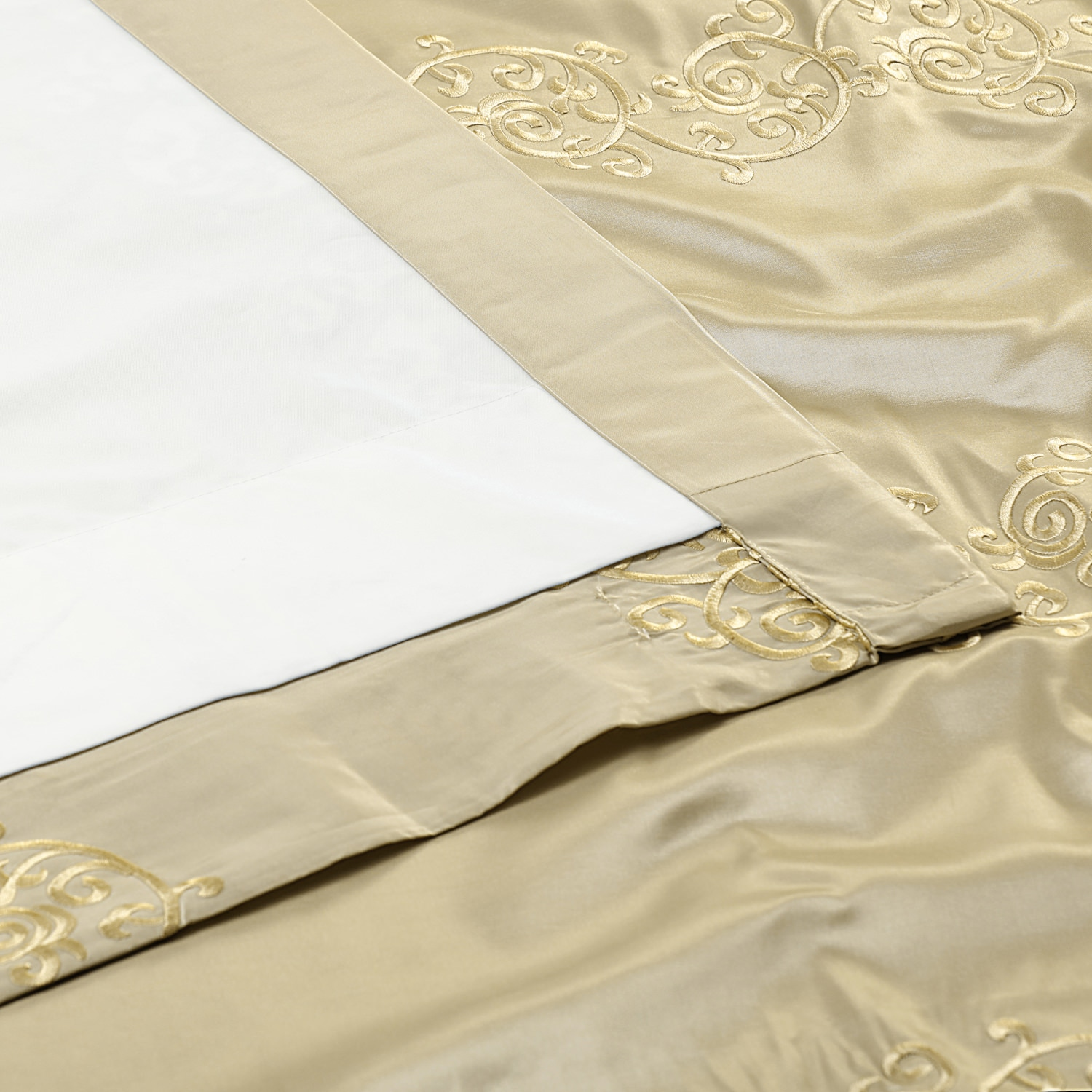 Papillon Cool Beige & Gold Designer Embroidered Curtain