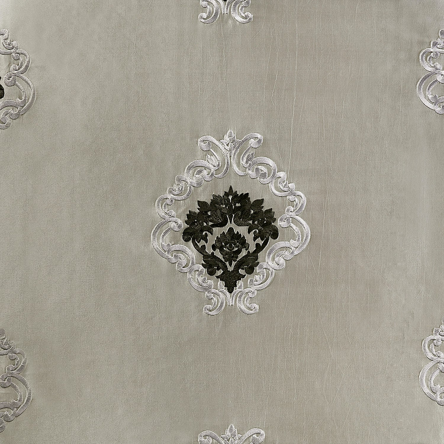 Elias Platinum Silver Designer Embroidered Swatch