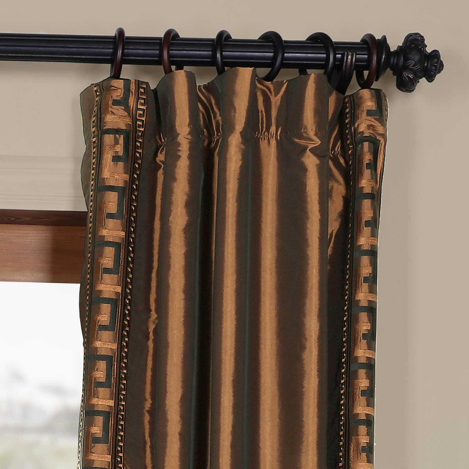 Greco Copper Embroidered Faux Silk Curtain