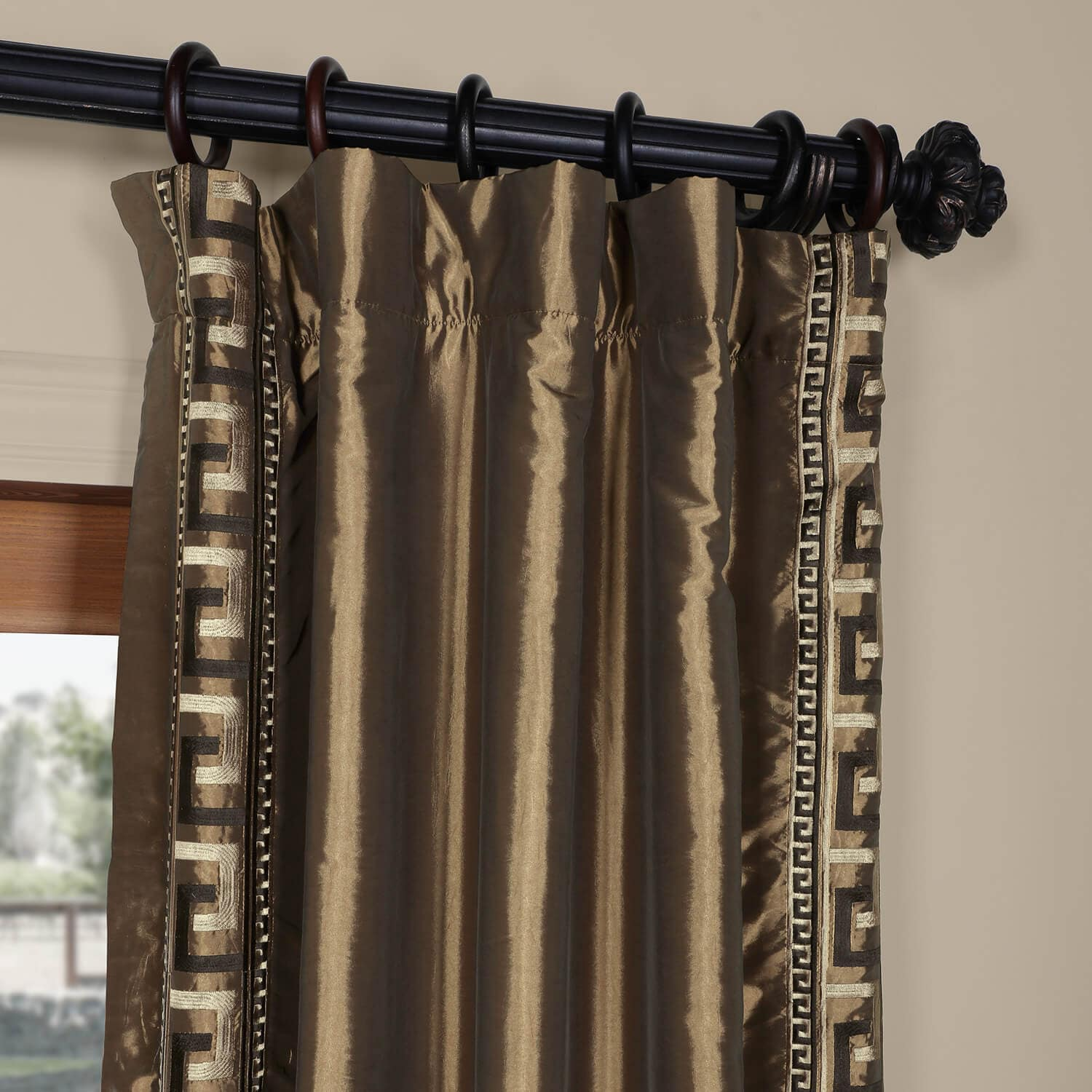 Greco Mushroom Embroidered Faux Silk Curtain