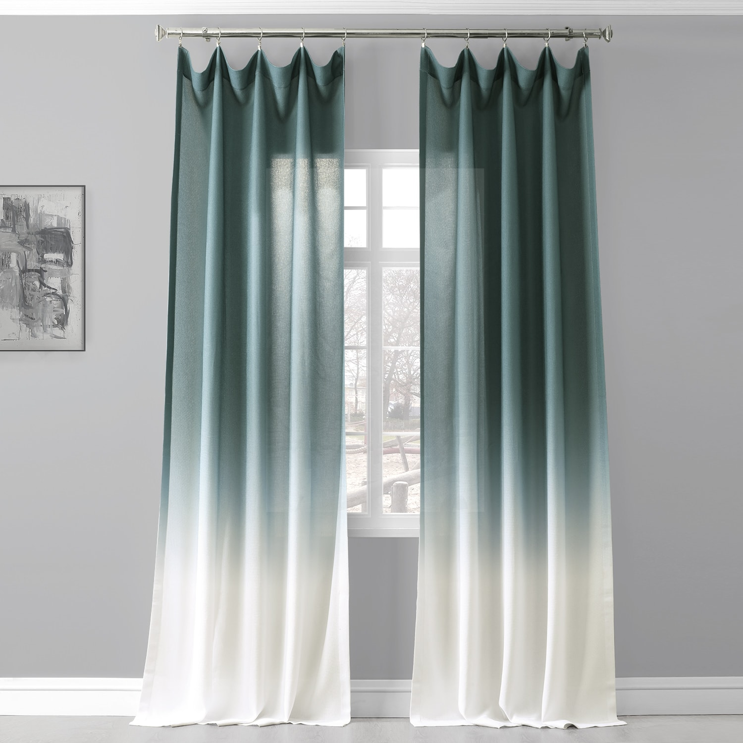 Ombre Aqua Faux Linen Sheer Curtain