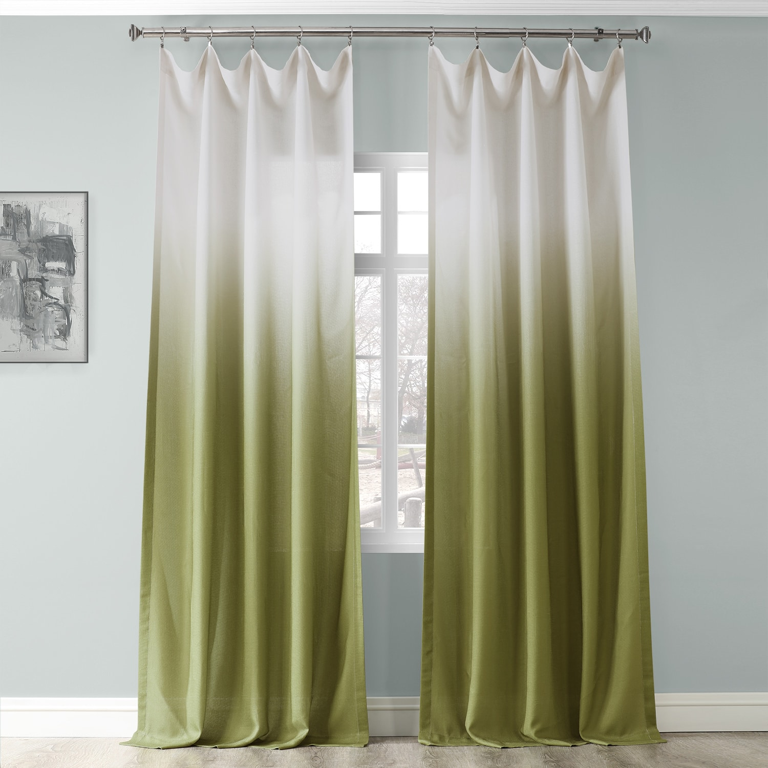Ombre Olive Faux Linen Sheer Curtain