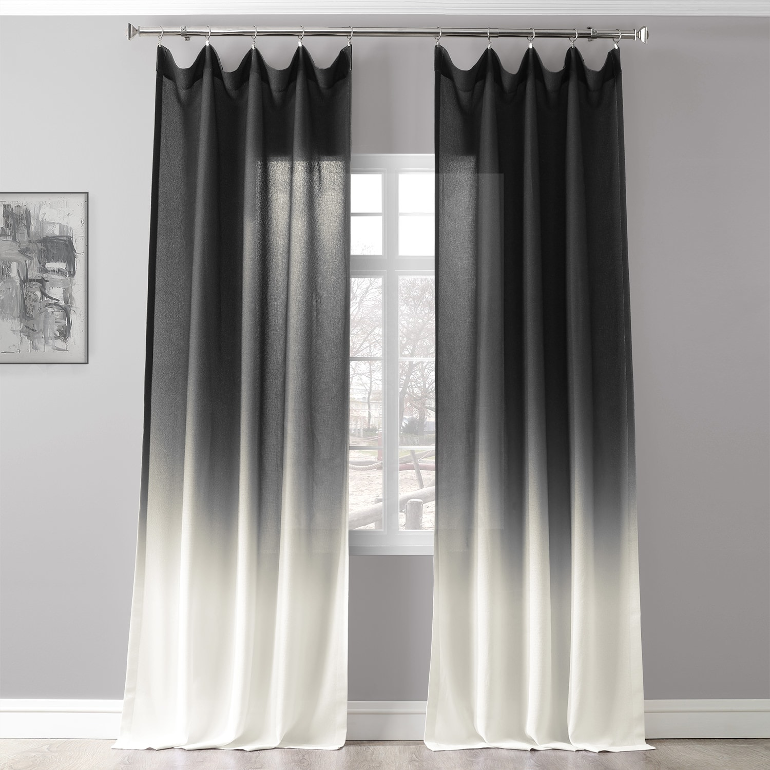Ombre Black Faux Linen Sheer Curtain