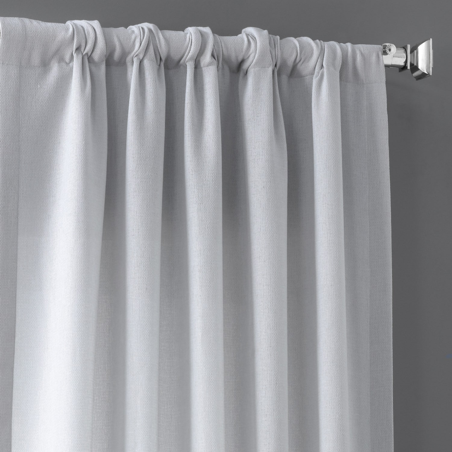Polar Grey Faux Linen Sheer Curtain