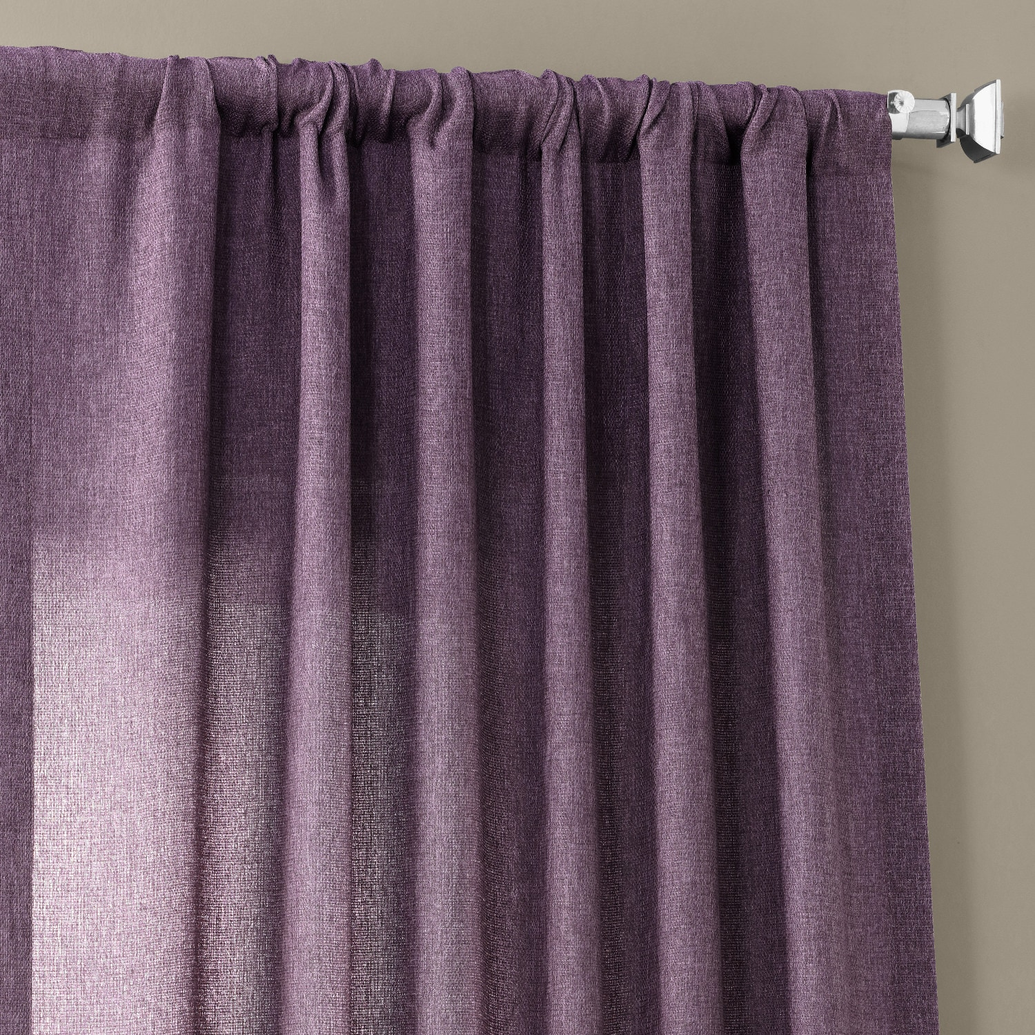 Stormy Purple Faux Linen Sheer Curtain