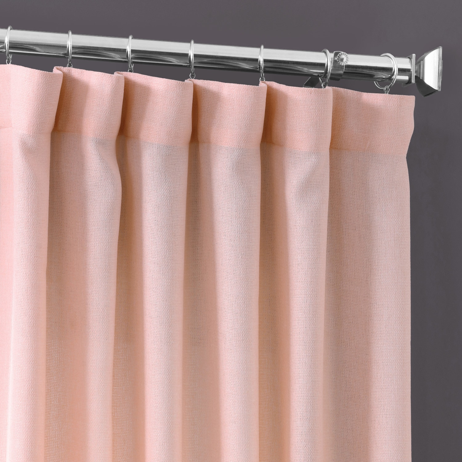 Primrose Pink Faux Linen Sheer Curtain