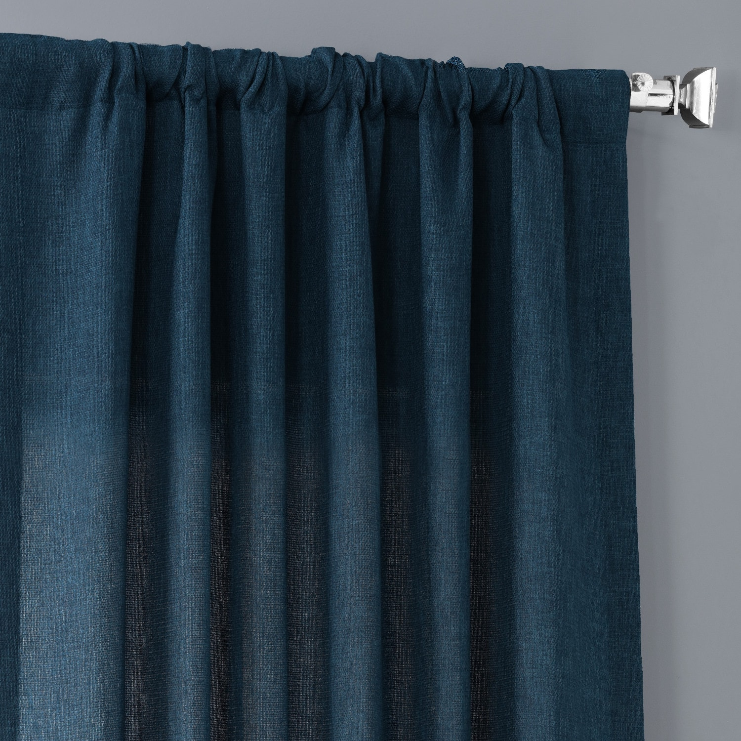 Stormy Blue Faux Linen Sheer Curtain