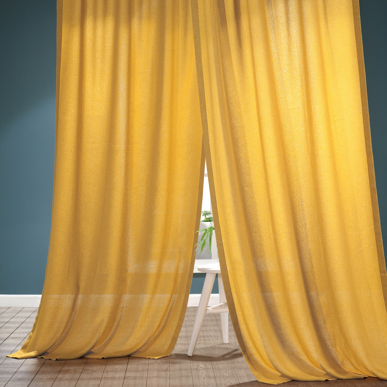 Buttercup Gold Faux Linen Sheer Curtain