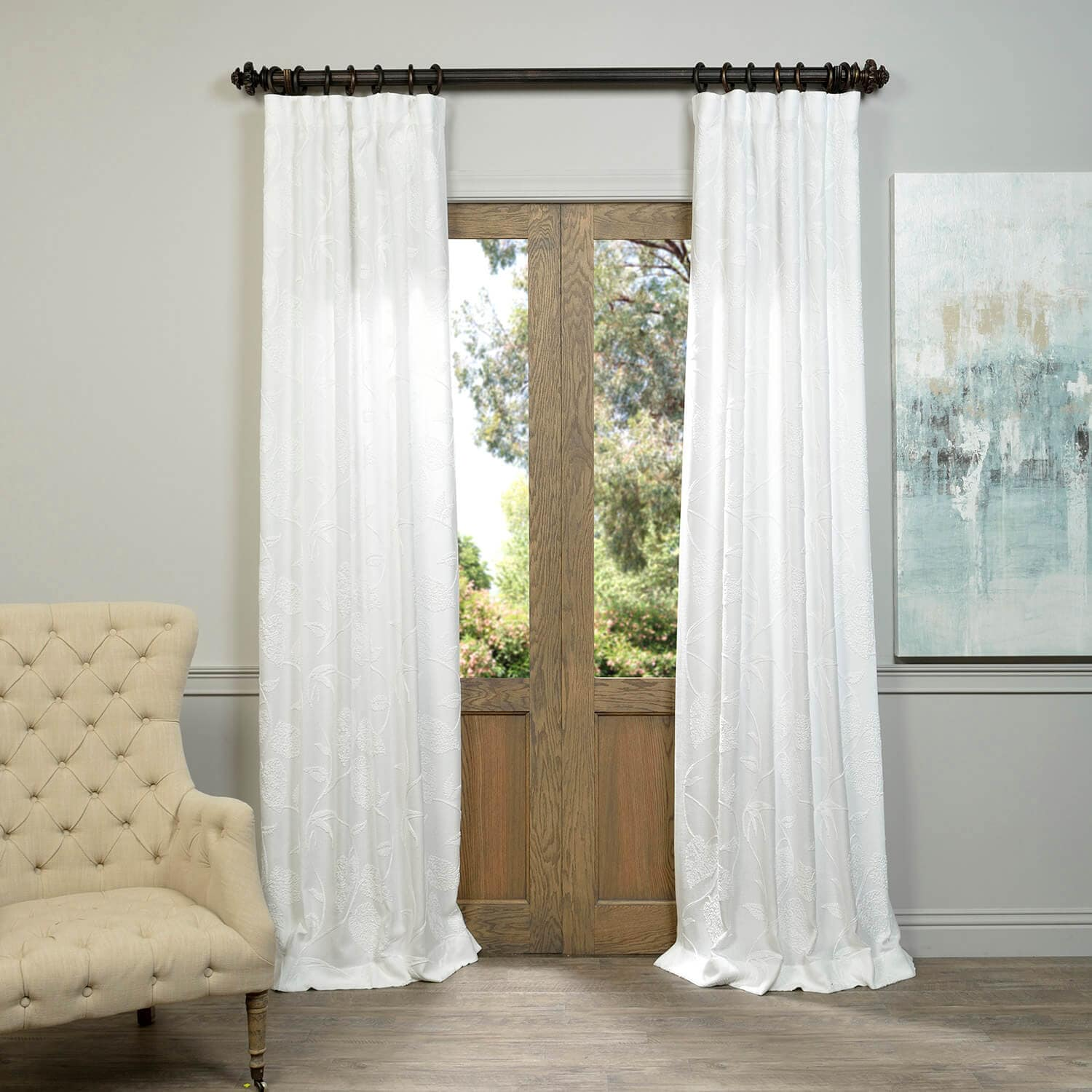 Vine White Embroidered Crewel Faux Linen Curtain Review