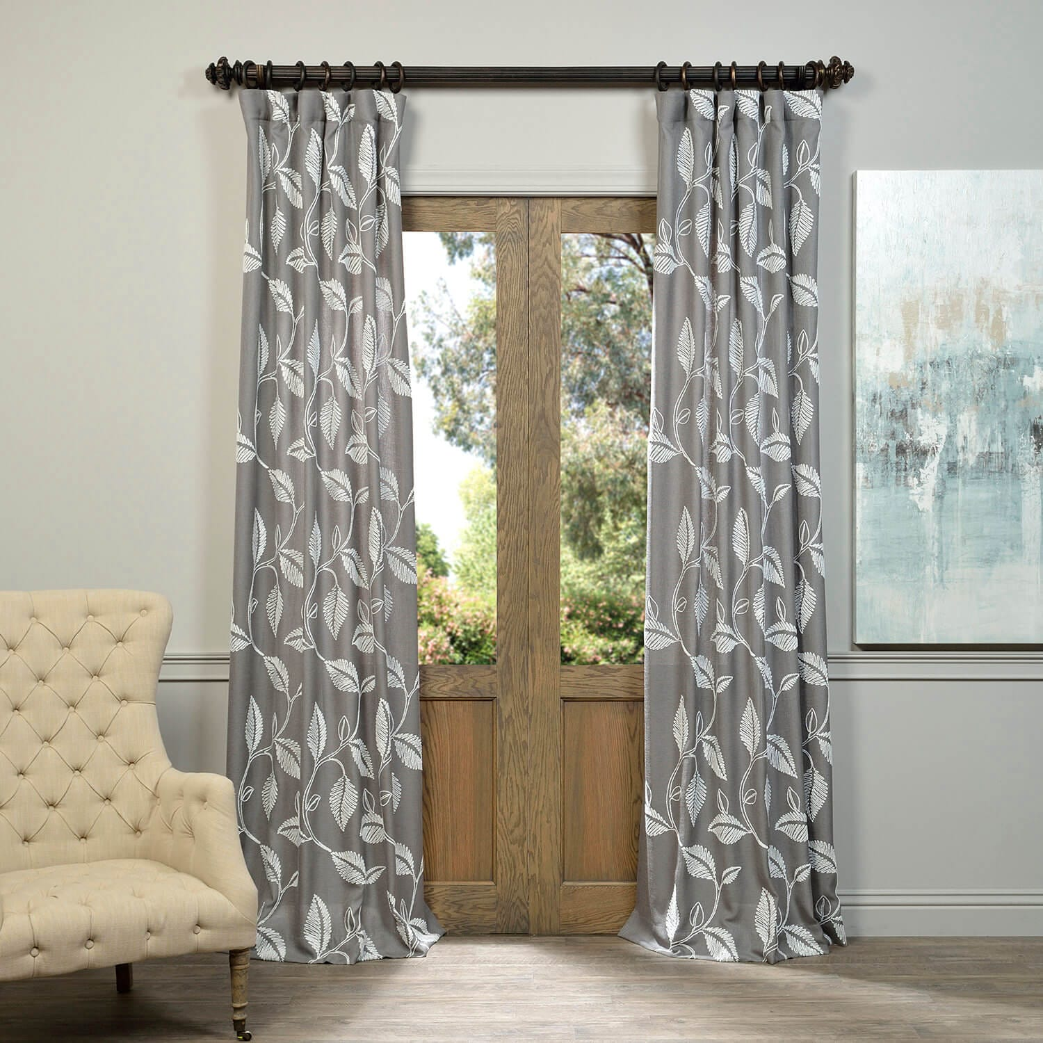 semi bella pair in linen room panel charcoal faux luna henley grommet drapes set p opaque darkening of l curtains curtain