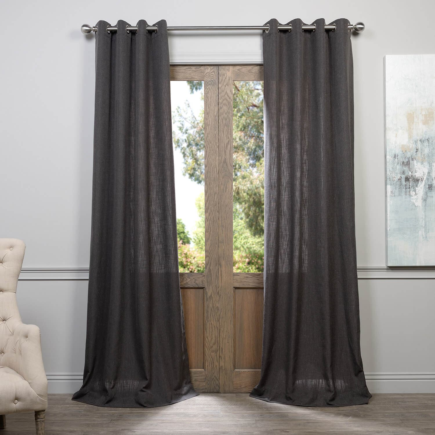panels faux view grommets in grommet curtains curtain fashions lj home larger silkana grey with silk drapes