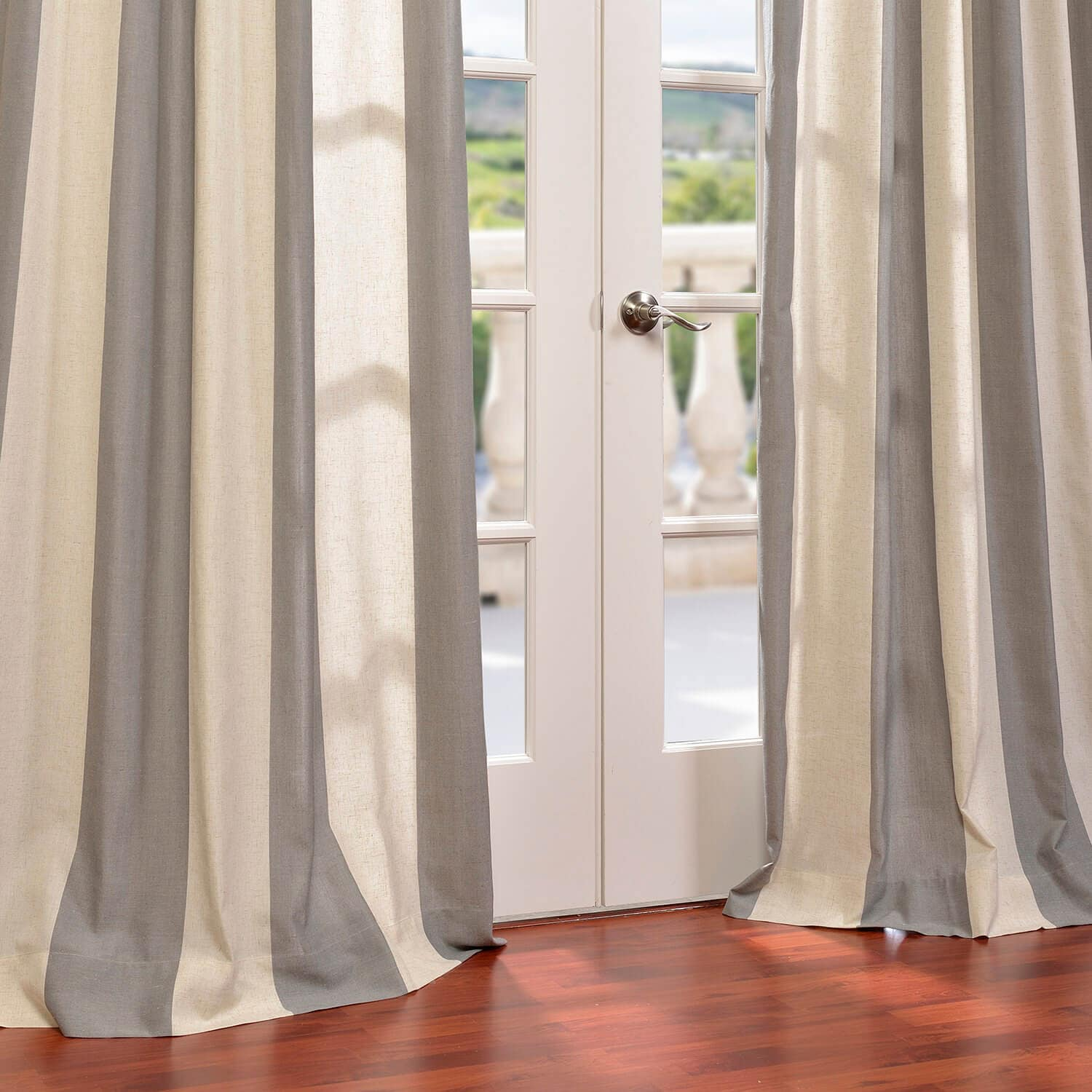 Linen Stripe Kitchen Curtains: Grey Linen Blend Stripe Curtains