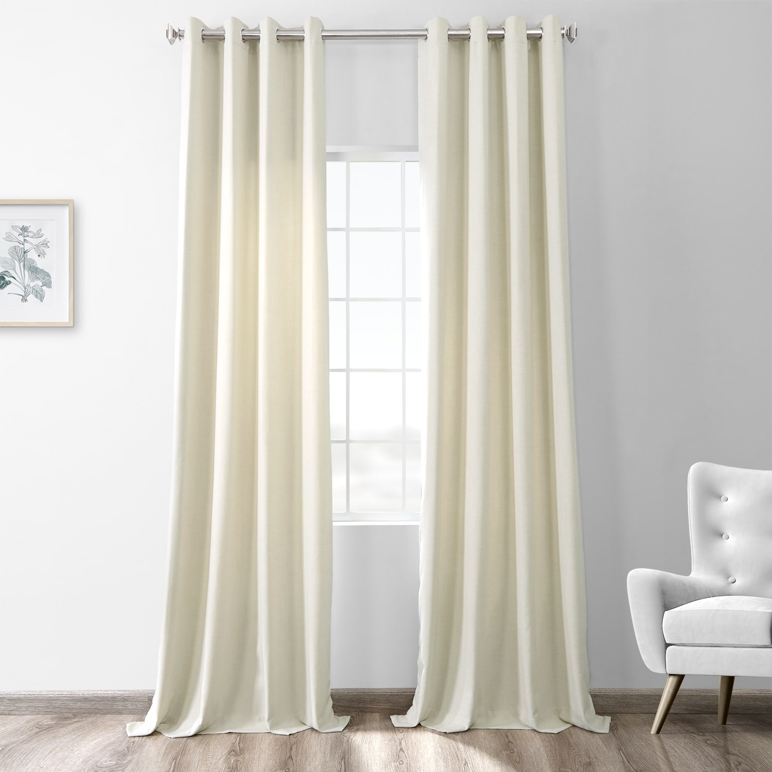 Creamy Ivory Thermal Room Darkening Heathered Italian Woolen Weave Grommet Curtain