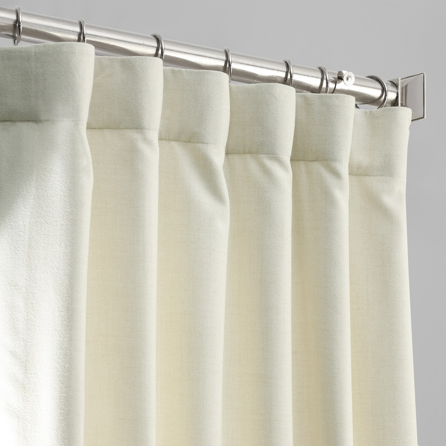Creamy Ivory Thermal Room Darkening Heathered Italian Woolen Weave Curtain