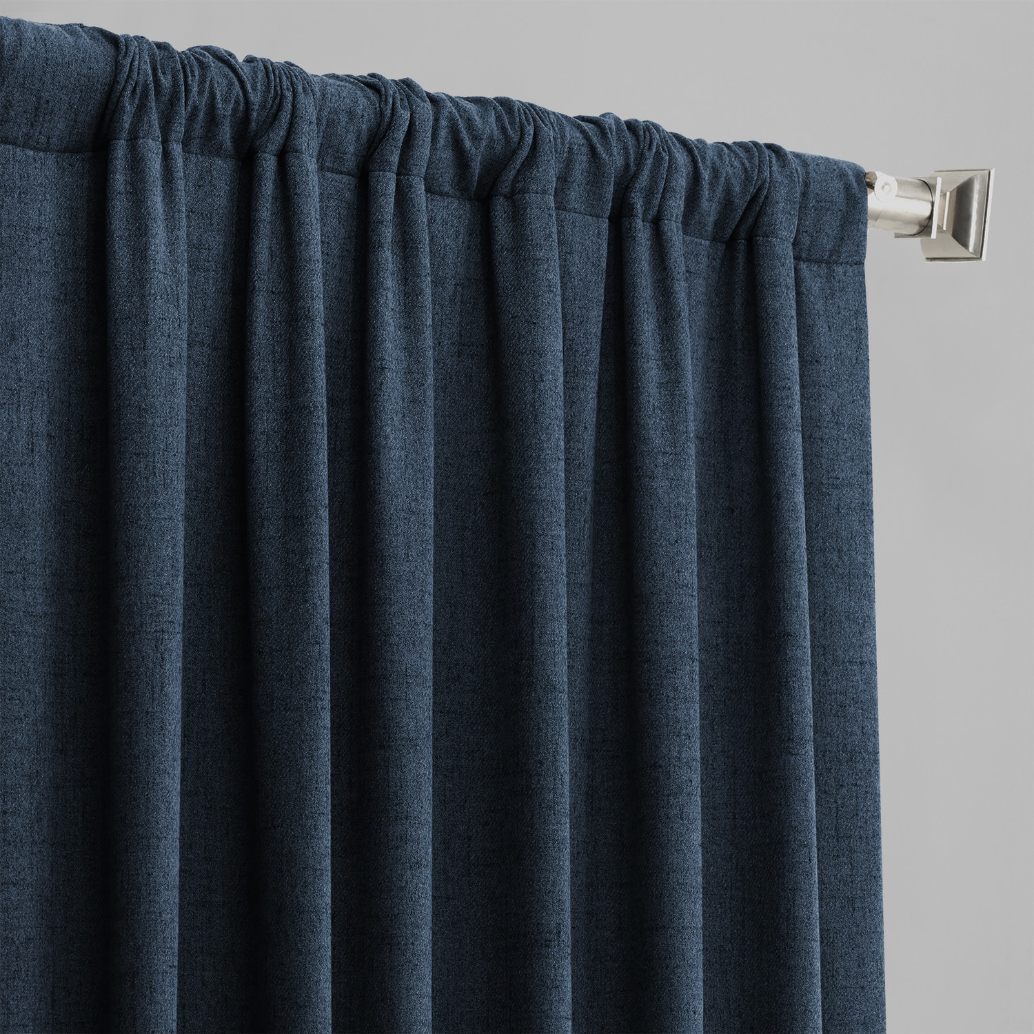 Dark Denim Blue Thermal Room Darkening Heathered Italian Woolen Weave Curtain