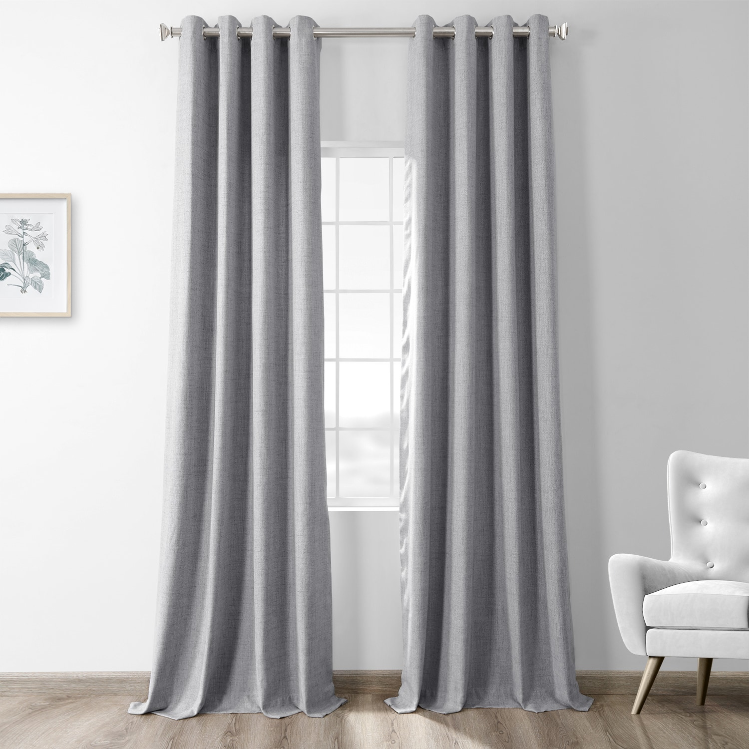 Steely Grey Thermal Room Darkening Heathered Italian Woolen Weave Grommet Curtain