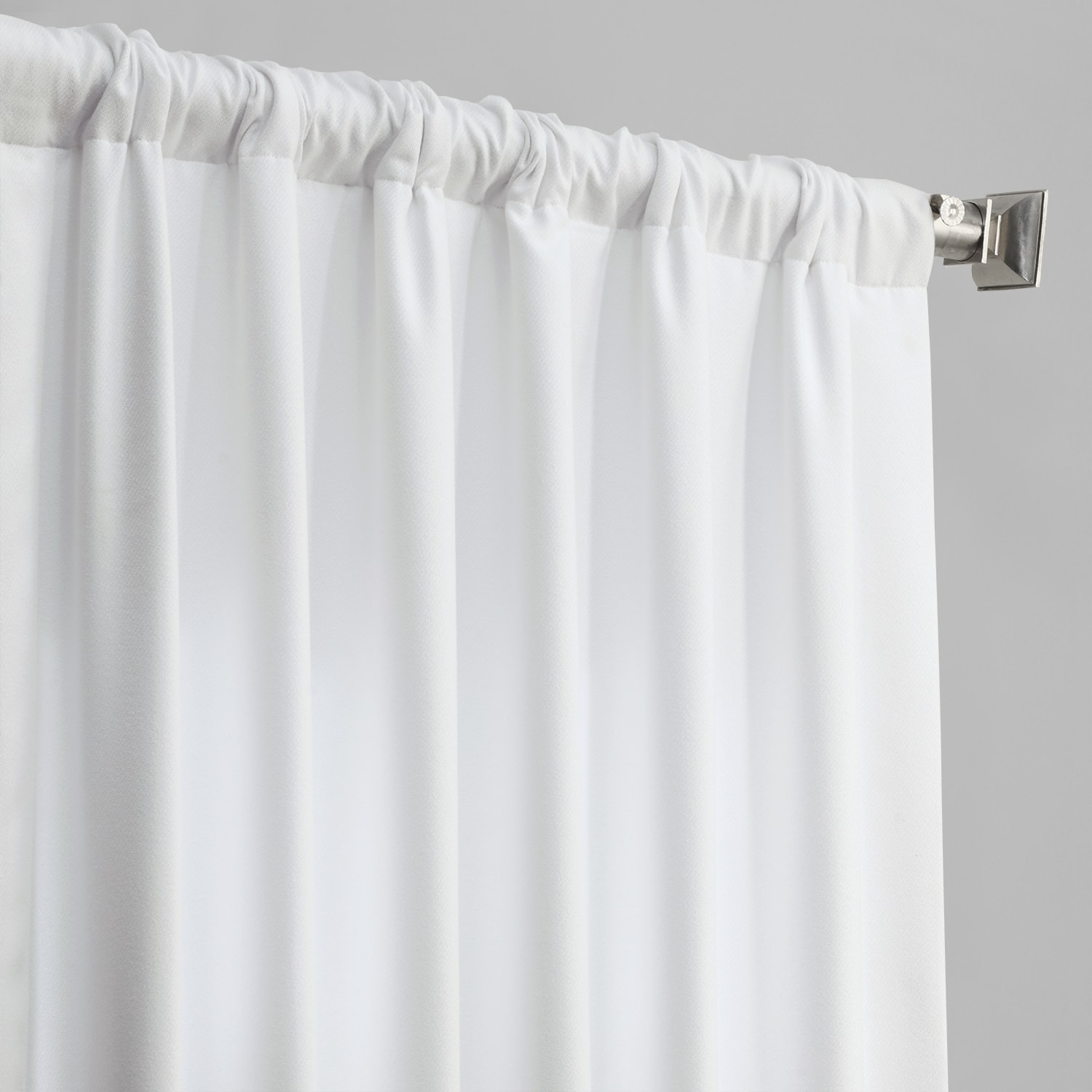 Snow White Thermal Room Darkening Heathered Italian Woolen Weave Curtain