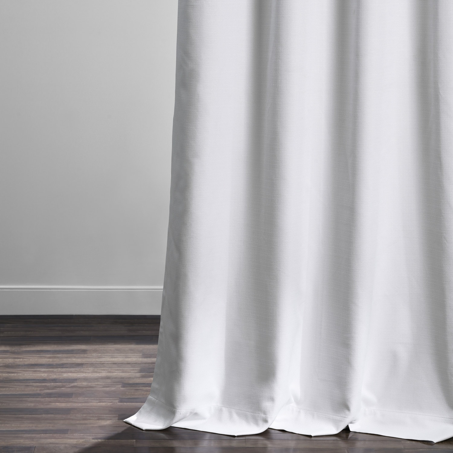 White Italian Textured Faux Linen Hotel Blackout Curtain