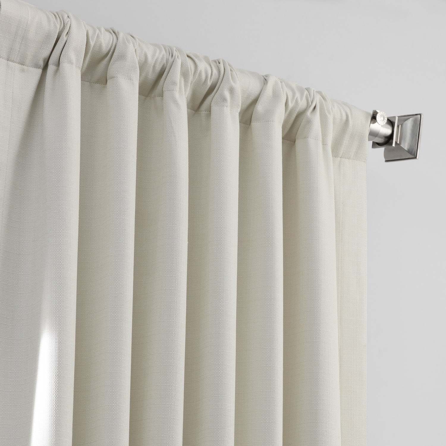 Ecru Italian Textured Faux Linen Hotel Blackout Curtain