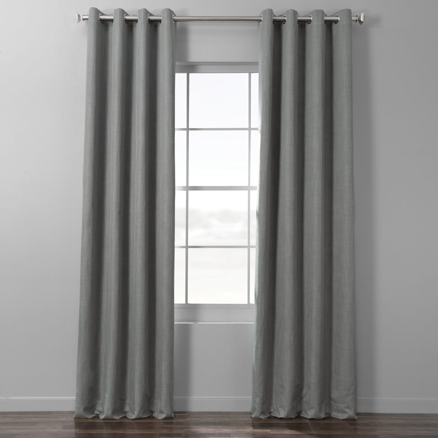 Pebble Grey Italian Textured Faux Linen Hotel Blackout Grommet Curtain