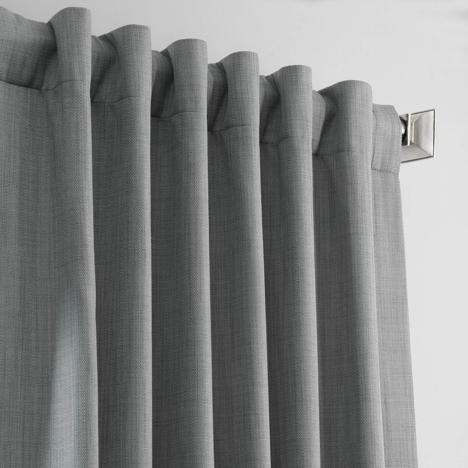 Pebble Grey Italian Textured Faux Linen Hotel Blackout Curtain