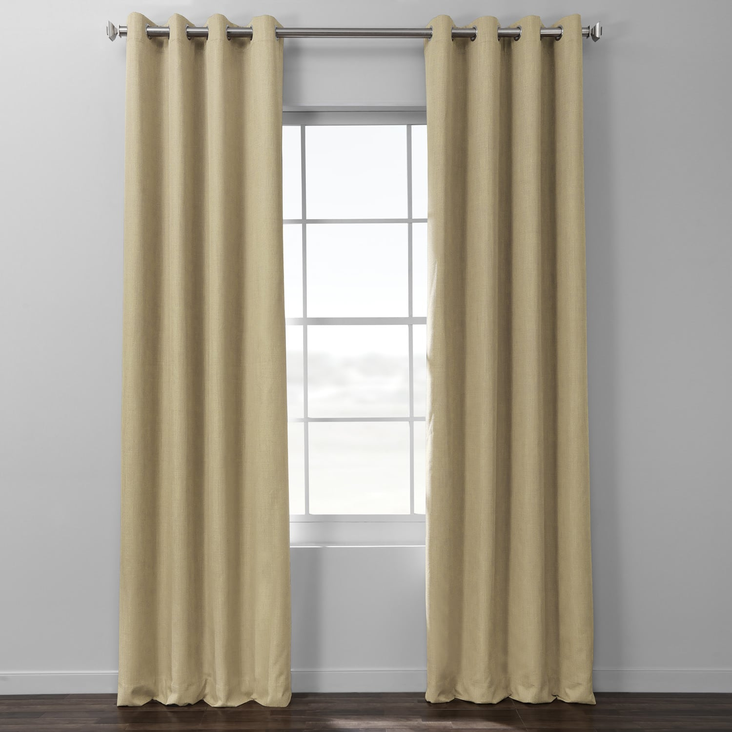 Classic Tan Italian Textured Faux Linen Hotel Blackout Grommet Curtain