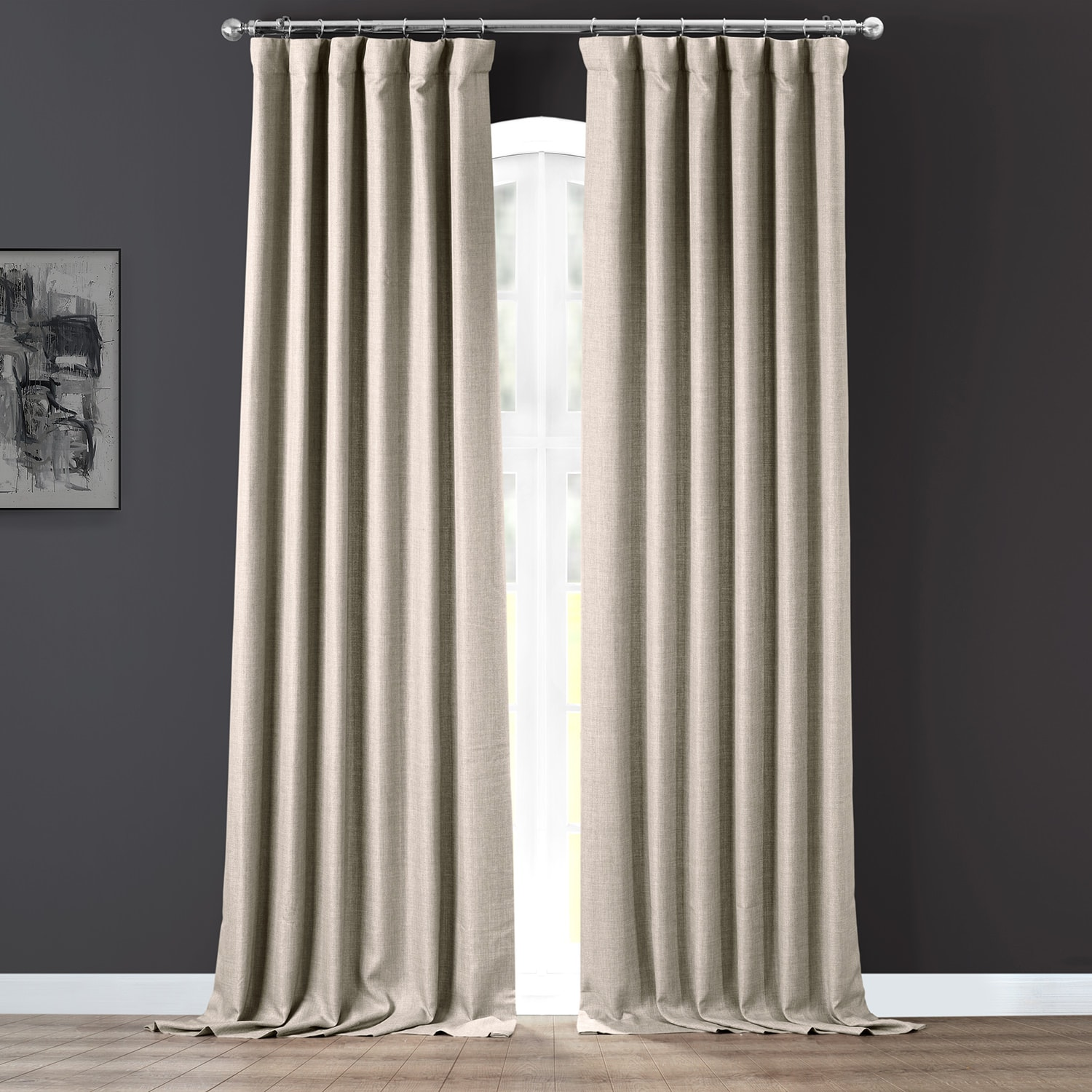 Taupe Grey Italian Faux Linen Curtain