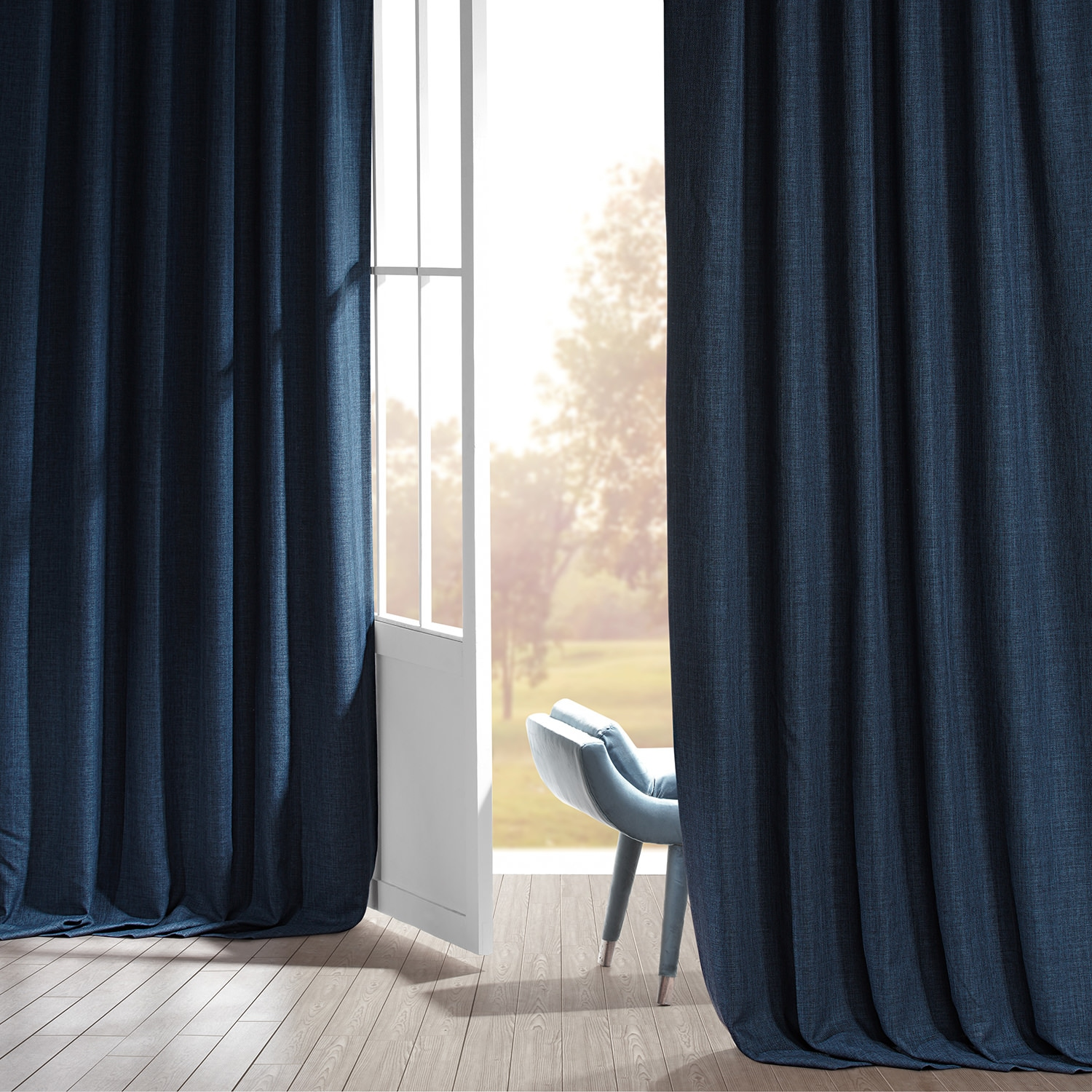 Signature Voyager Blue Faux Linen Blackout Curtain