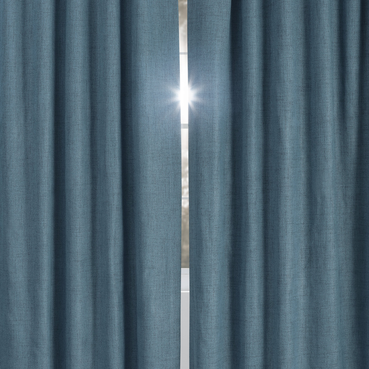 Ovation Blue Vintage Thermal Cross Linen Weave Max Blackout Grommet Curtain