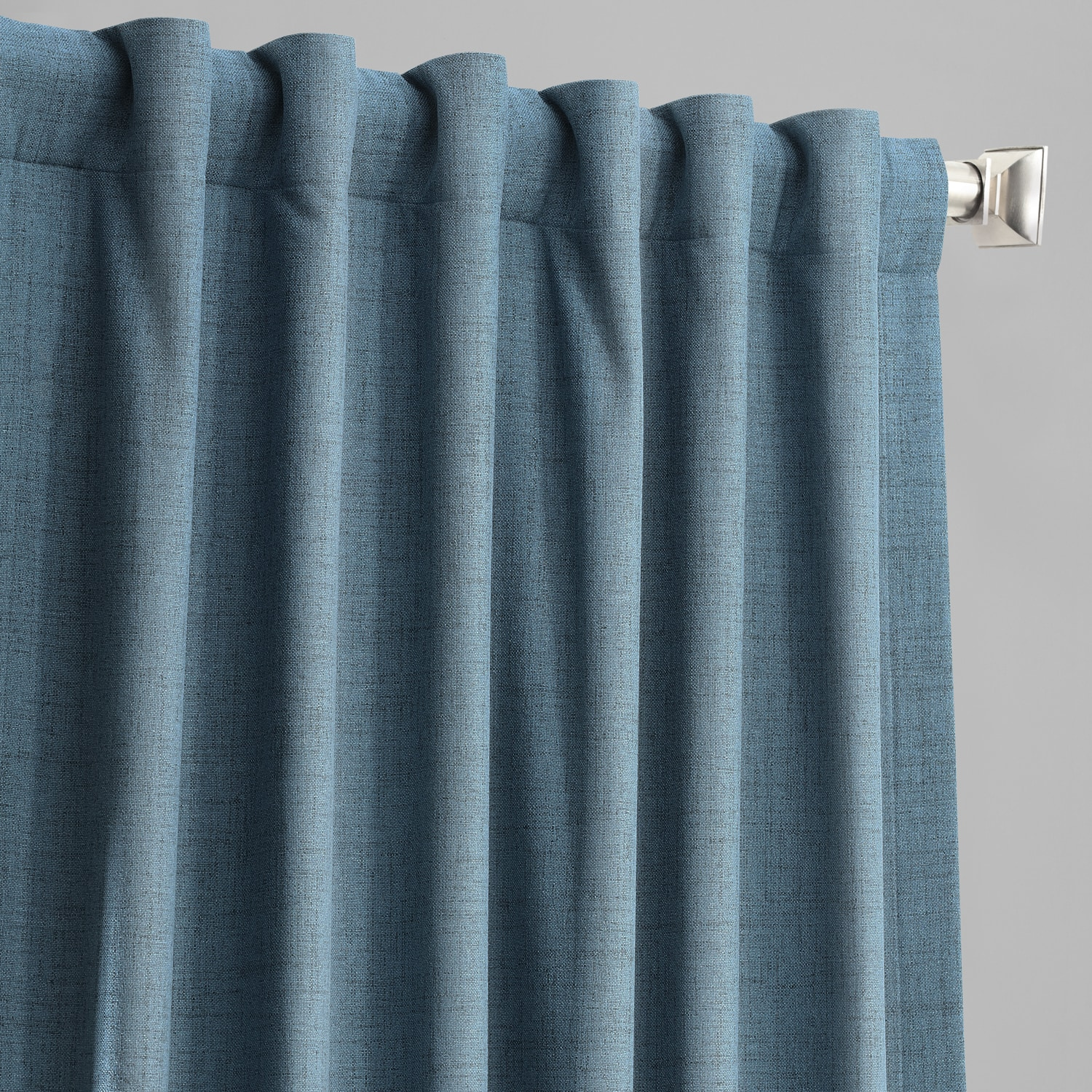 Ovation Blue Vintage Thermal Cross Linen Weave Max Blackout Curtain
