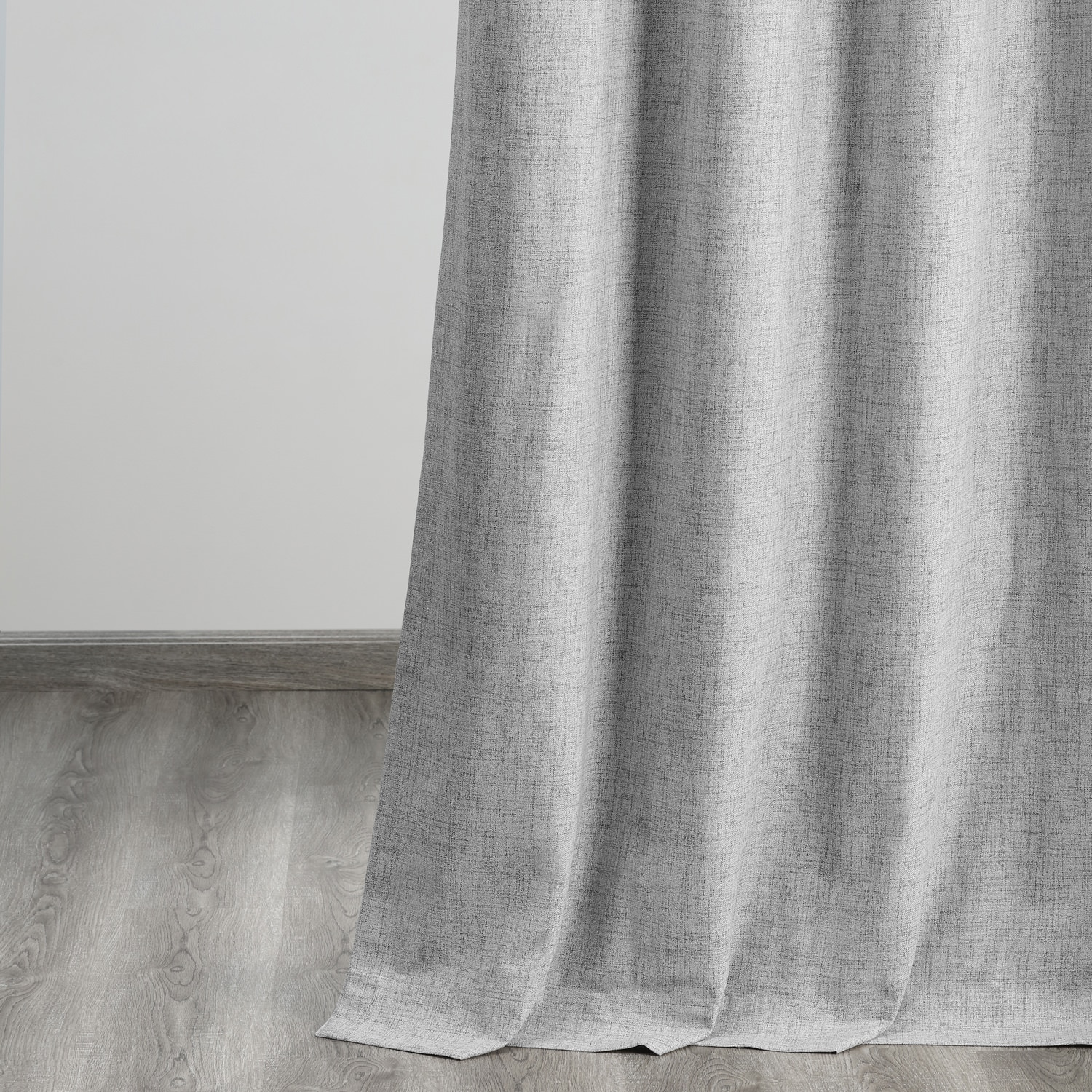 Millennial Grey Vintage Thermal Cross Linen Weave Max Blackout Curtain