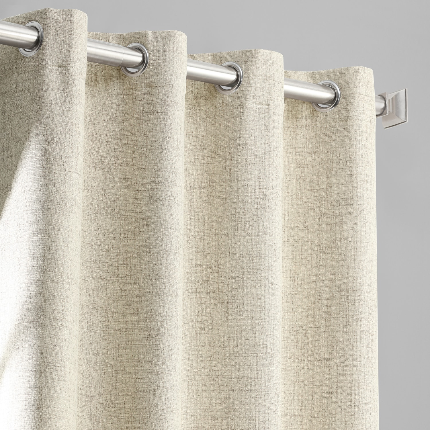 Toasted Tan Vintage Thermal Cross Linen Weave Max Blackout Grommet Curtain