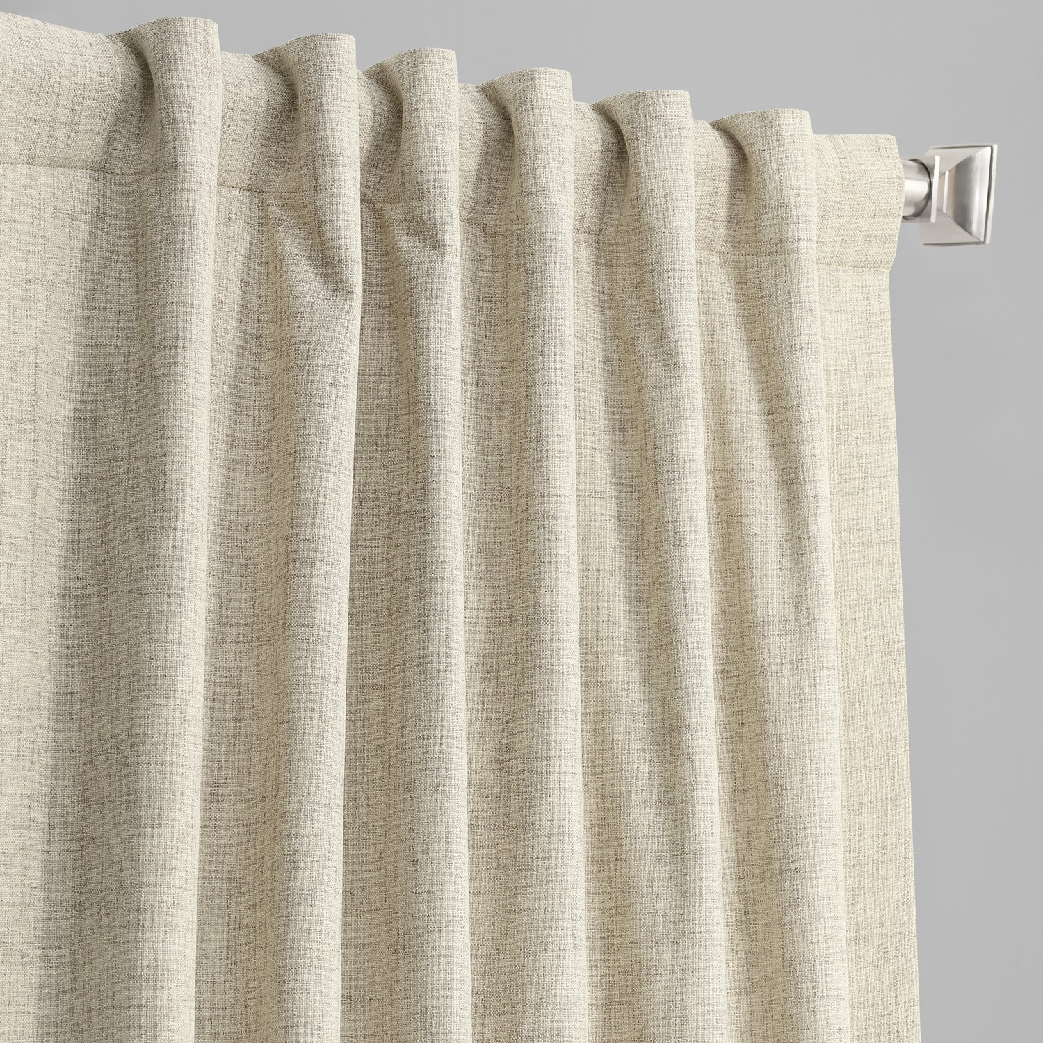 Toasted Tan Vintage Thermal Cross Linen Weave Max Blackout Curtain